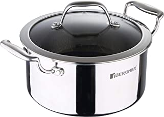 Bergner Hitech-3 Prism Induction Base Non-Stick Stainless Steel Casserole with Lid, 5.3 Liters/24 cm, Silver