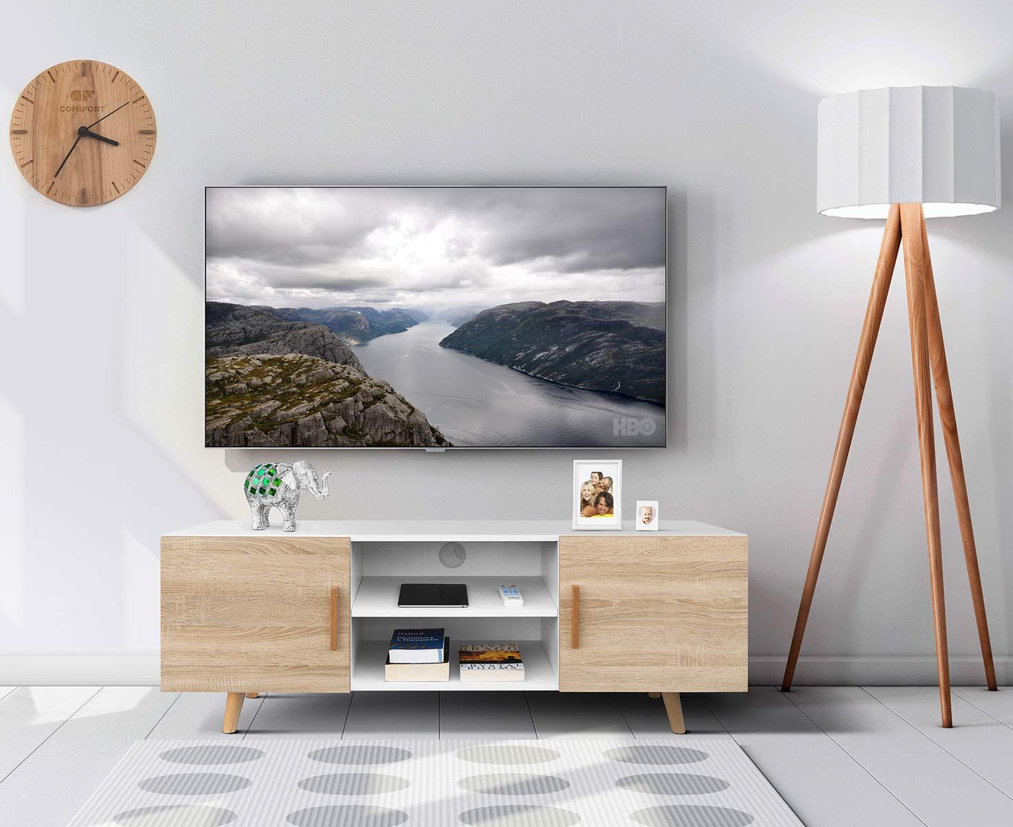 comifort tv85 - Meuble TV Salon Style Moderne Nordique Table télévision,  Couleurs: Blanc, chêne, Blanc/chêne 140 x 42 x 50 cm