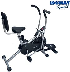 Air Bike Exercise Cycle by Leeway| Moving Handle Gym Bike| Deluxe Design of Crossfit Fitness| Lifeline for Cardio Work Out| Stamina BGA Bike| Dual Action Airbike with Back Rest and Twister-Silver
