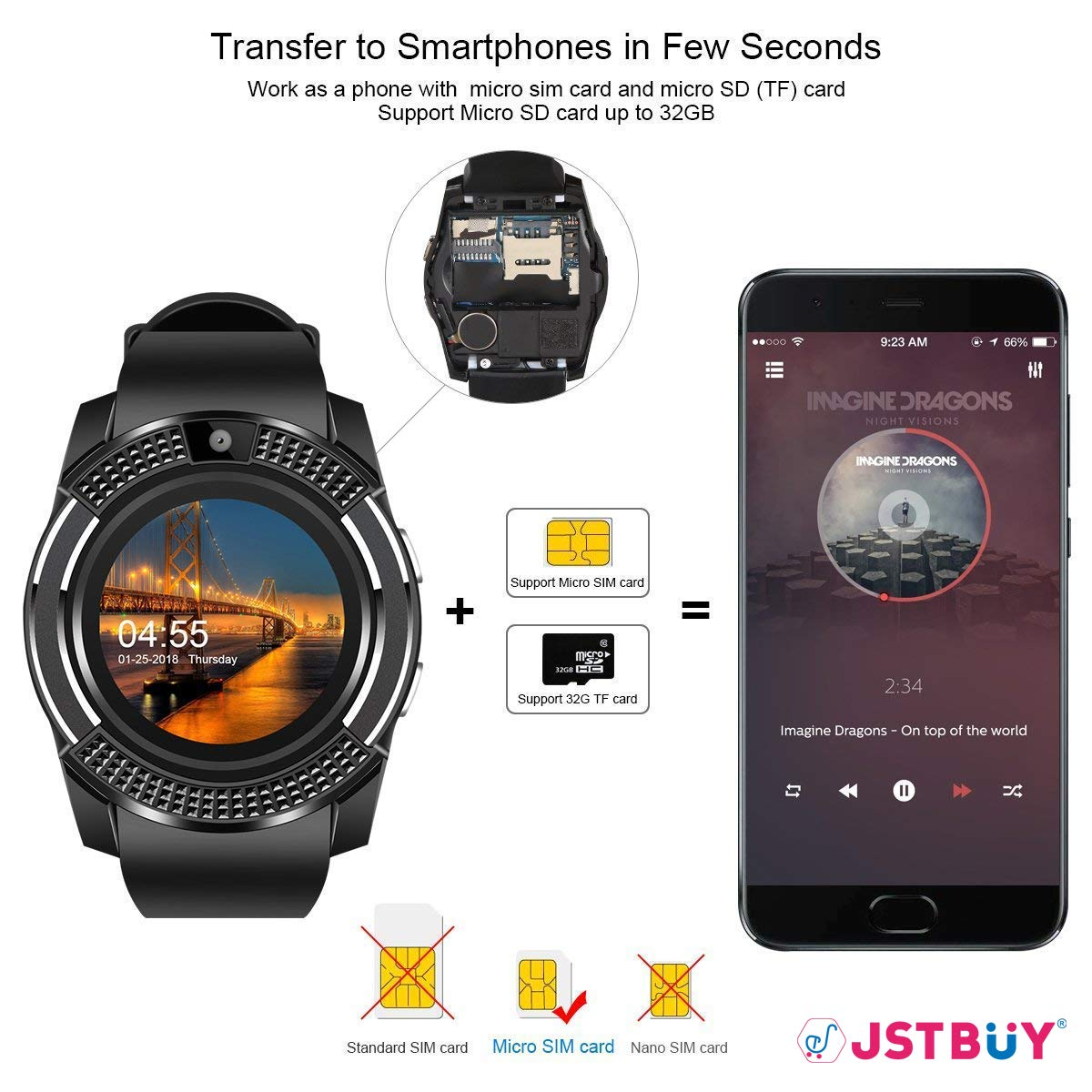 08fe890ef JSTBUY LABEL V8 Round Touchscreen Bluetooth Smartwatch with Camera and SIM  Card Support Compatible with Android, iOS and All 3G, 4G Mobile Phones  Wrist ...