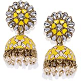 Zaveri Pearls Beautifully Enamelled Yellow Jhumki Earring For Women-ZPFK8805
