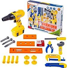 Likeluk 21 Stücke Kinder Werkzeugset Kunststoff Spielwerkzeug Set mit Realistischen Bohrmaschinen Bauarbeiter Satz für ab 3 Jahren