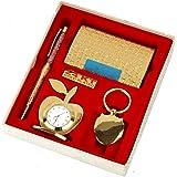 Lavanaya Silver - Gold Plated Gift Set Pen, Visiting Card Holder, Apple Shape Clock and Key Ring (Golden, Pack of 4) Gift for