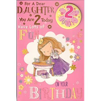 Daughter 2nd Birthday Card With Badge