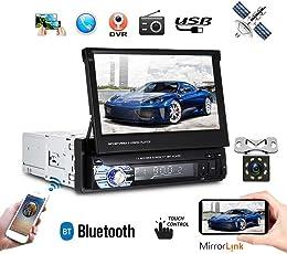 1DIN HD 17,8cm Auto MP5Player Radio Stereo Faltbar Touchscreen GPS Head Unit GPS Bluetooth EU Karte Entertainment Multimedia Radio + Mini 8IR Licht Nacht Vision Backup Kamera (mit 8G Karte)