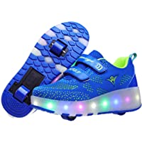Unisex Kids Roller Skate Shoes Removable Become Sport Trainer USB Charge Led Shoes for Boys Girls Double Wheels Shoes