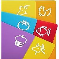 ZITFRI 6 Pezzi Set Taglieri Flessibili in Plastica Antiscivolo e Igiene Tagliere Plastica Piaghevole  38x30 5cm  Arancio   Blu   Giallo   Rosso   Verde   Viola