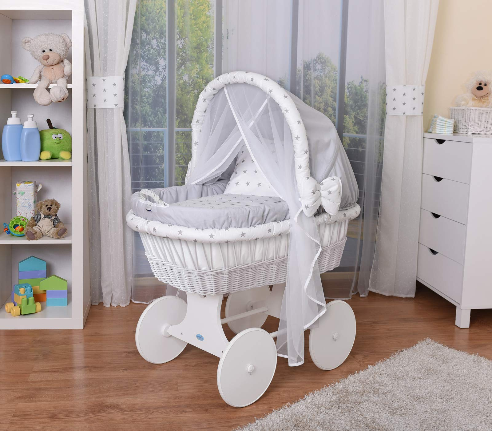 WALDIN Baby Wicker Cradle,Moses Basket,44 Models Available,White Painted Stand/Wheels,Textile Colour Grey/Grey Stars  For more models and colours on Amazon click on WALDIN under the title Bassinet complete with bedding and stand Certified to safety standard EN 1130-1/2 1