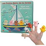 LUDI - Livre d'éveil en plastique pour jouer à l'heure du bain. Dès 10 mois. 5 marionnettes de doigts : mouton, cochon, chien