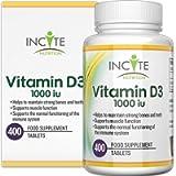Vitamin D 1000iu | 400 Premium Vitamin D3 Easy-Swallow Micro Tablets | One a Day High Strength Cholecalciferol VIT D3…
