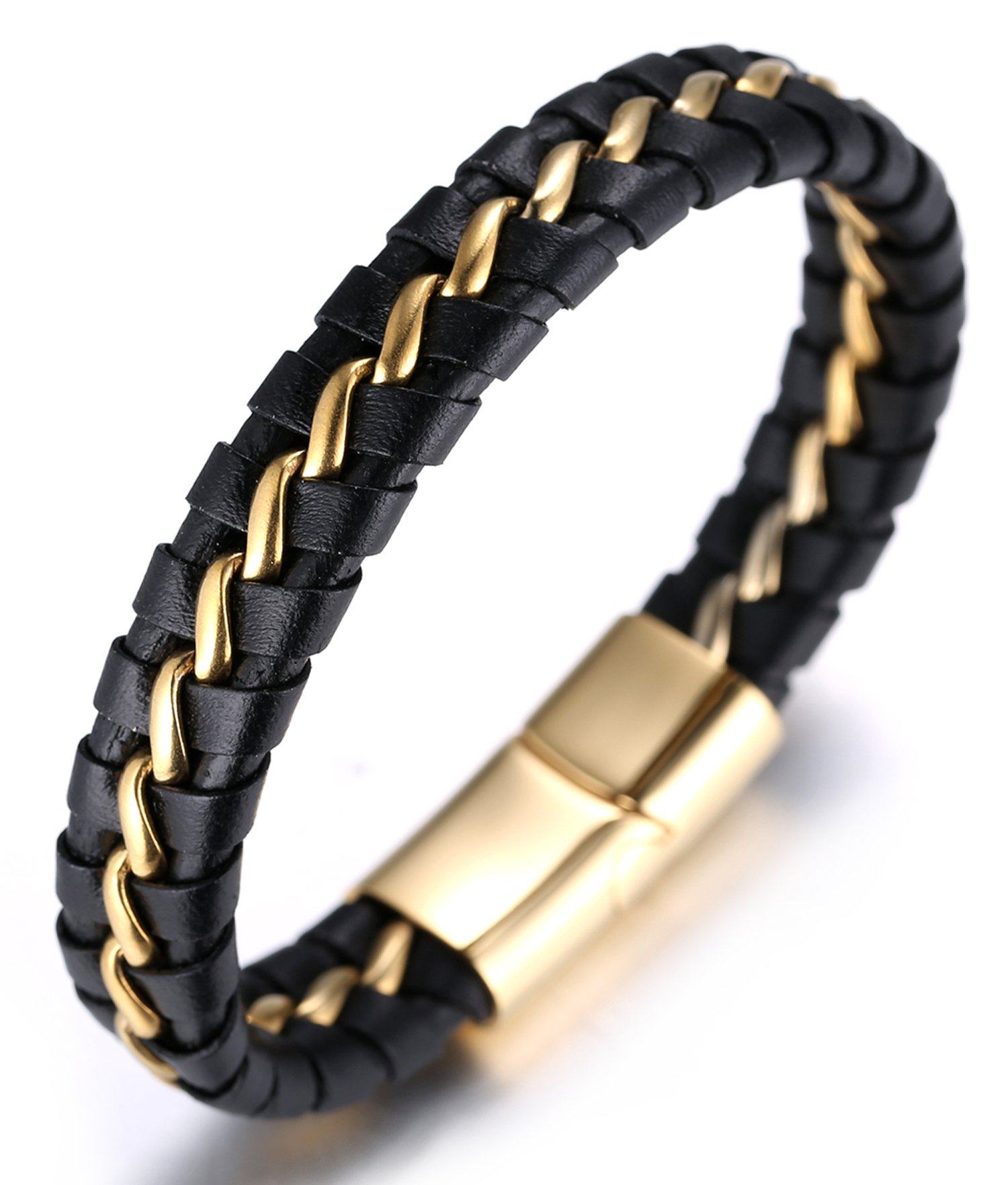 HALUKAKAH Plus ● Solo Silver/Honor Gold/Nightwatch Black ● Men's Genuine Leather Bracelet Titanium Chain Magnetic Clasp 21.5-23cm with Free Giftbox