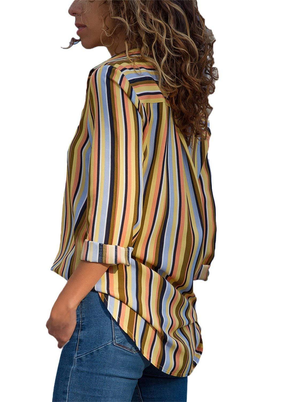 Aranmei Blusa Mujer Chiffon Camisa De Manga Larga Elegante Colorido a Rayas Cuello V Camisas (S-XXL)