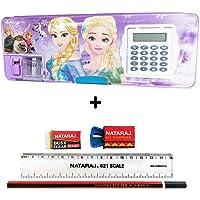 Shifaa Enterprise Multipurpose Magnetic Pencil Box with Calculator & Dual Sharpener for Girls & Boys for School   Big Size Cartoon Printed Pencil Case for Kids (Frozen Princess Purple)