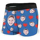 Jinlinjew Slip Boxer Viso Personalizzato, Viso Personalizzato da Fidanzata con Foto Stampate Pantaloncini Divertenti da Uomo