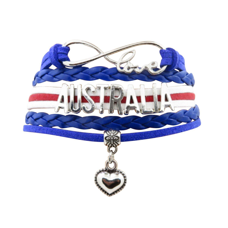 Angepasste Unisex Leder Leder Metall Flagge Armband Armband Manschette