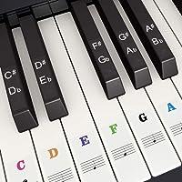 Klavier Keyboard Aufkleber für 37/49/54/61/88 Weiße und Schwarze Tasten, Branger Bunt Noten-Aufkleber Klaviertasten…