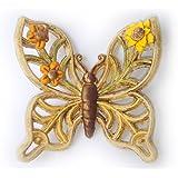 Farfalla in Ceramica da Appendere, Farfalla con Decoro Girasole, Farfalla 3D