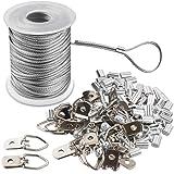 Fotolijst Hanging Wire Kit gevlochten roestvrij staal vinyl gecoate draadspoel 1,5 mm x 100 voet en 30 delen D-ring-fotohange