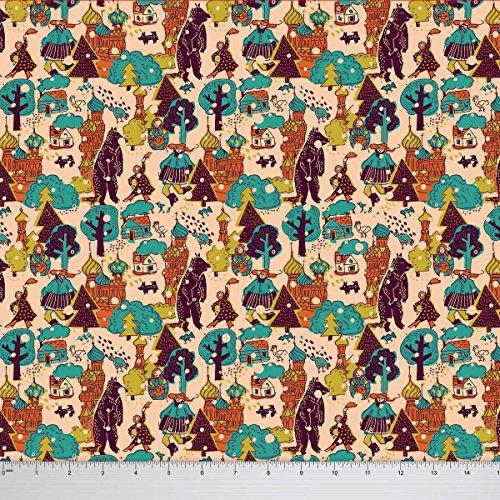 Soimoi Georgette Stoff Russlands Themen-Architekturdruck 44 Zoll breit Stoff durch die Meter - Peach (Georgette Peach)