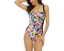 WIN.MAX Traje de baño Acolchado para Reducir Barriga, Traje de baño de Talla Grande para Mujeres Monokinis Vintage Push up, p