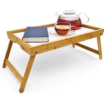 Bambus Fruhstuckstablett Bett Tablett Serviertisch Holz Amazon De
