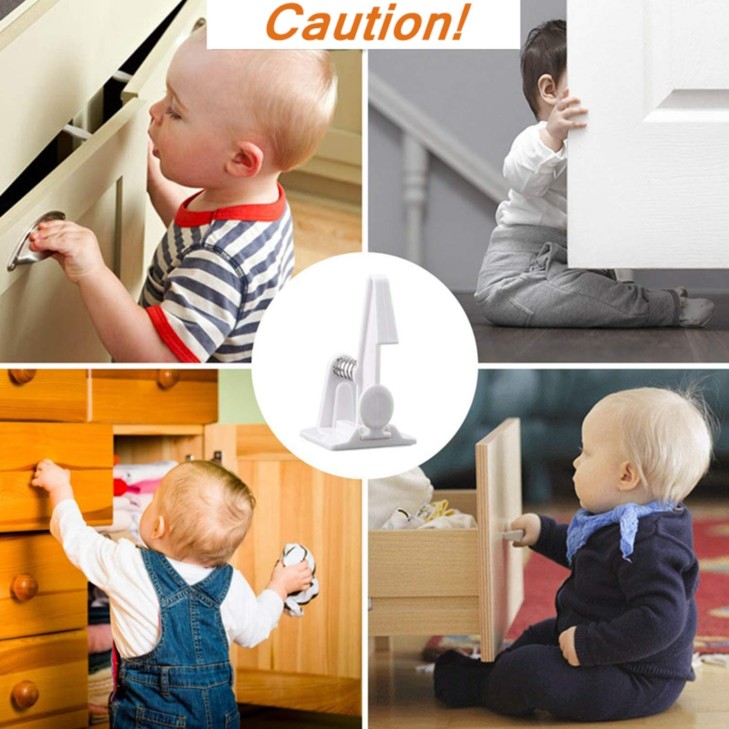 Cabinet Fridge White Closets. Tools or Screws Easy to Install with Strong 3M Adhesive Baby Safety Proof Kit Cupboard Latches Set No Drill for Drawers Door 10 Pack Child Safety Cupboard Locks