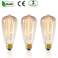 3Pack E27 Vintage Edison Light Bulbs E27 ST64 Amber Glass Retro Old Fashioned Dimmable Decorative Spiral Filament Light Bulbs 40W 2300K Warm White Lights Ideal for Home Office Restaurant Cafe