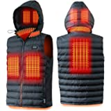 Heated Body Warmer Vest-Detachable Hood Heating Vest with 6 Heating Zones for Men and Women with Power Bank