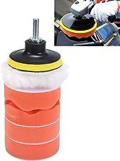 7pcs Car Foam Polishing Pads, Compound Sponge and Wool 3inch Buffing Pads Kit for Automotive Boat Sanding, Waxing, Sealing Glaze (4 Wax Applicator Pad, 1 Woolen Buffer, 1 M10 Drill, 1 Sucker) (4 inch)