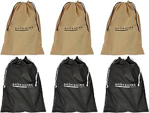 Shoeshine India Black & Beige Shoe Bag (Set Of 6)