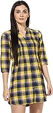 One Femme Women's Plaid Check Print Tunic