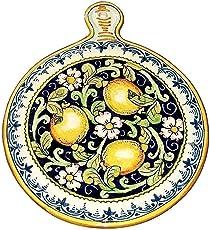 CERAMICHE D'ARTE PARRINI- Ceramica italiana artistica, sottopentola decorazione limoni, dipinto a mano, made in ITALY Toscana