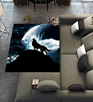 Custom Wolf Howl Area Rugs Modern Carpet For Home Dining Room Playroom Living Decoration Size 7 X 5 80 58 Inches Amazoncouk Kitchen