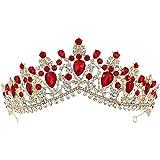 Lurrose Gioielli per capelli corona corona di cristallo rosso tiara oro strass per matrimoni Prom