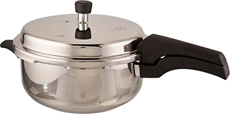 Prestige Deluxe Alpha Stainless Steel Deep Pan Pressure Cooker, 5 Litres, Silver