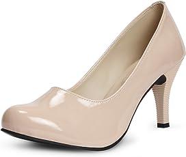 Meriggiare Women Patent Leather Beige Heels