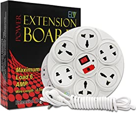 ELV Extension Board 6 Amp 8 Plug Point with Master Switch Along with Microfiber Cleaning Sticker, LED Indicator, Extension Cord (2.7 Meter) - White