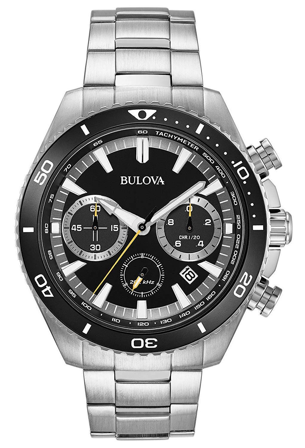 Bulova Mens Chronograph Quartz Watch with Stainless Steel Strap 98B298