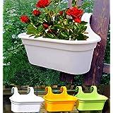 Store अपना Double Hook Flower Pots, Multicolor Garden Planters Railing Pots Virgin Plastic Hanging Planters - Set of 3 (34 cm
