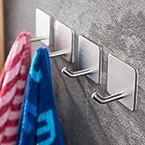 Ruicer Zelfklevende handdoekhaken, zonder boren, wandhaken, 4 stuks, kleefhaken, roestvrij staal, voor keuken en badkamer,