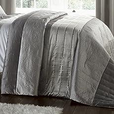 Catherine Lansfield Gatsby SB Steppdecke, 135x200 cm und 1 Kissenbezüge, 50x75cm, 50% Polyester/50% Baumwolle, silberfarben