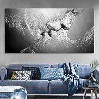 HYFBH Mode Noir et Blanc Amour Baiser Art Abstrait sur Toile Peinture Affiche Mur Art Photo Impression Maison Salon…
