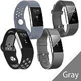 Hanlesi Fitbit Charge 2 Armband, Silikon Ersetzerband Fitness Verstellbares Uhrenarmband für Fitbit Charge 2 Ersatz Armbänd