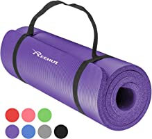 Reehut Tappetino 12mm Yoga Pilates Fitness Allenamento Gomma NBR Espansa Alta Densità Viola con Cinturino