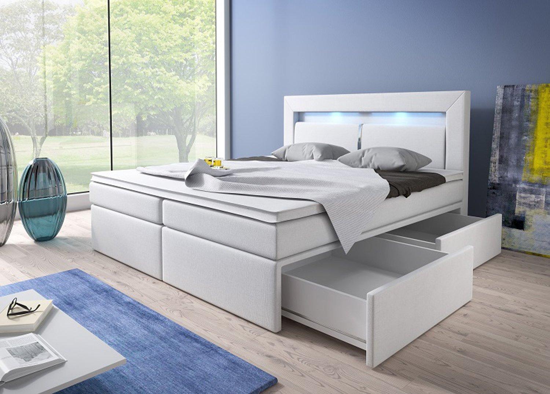 Boxspring bett weiß 160x200  Boxspringbett 180x200 Weiß mit Bettkasten LED Kopflicht Kunstleder ...