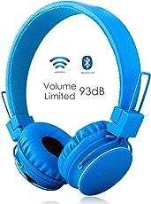 Termichy Kabellos Bluetooth Kopfhörer Kinder mit 93db Lautstärkenbeschränkung, Faltbare Tragbare Leicht kopfhoerer mit Frei Abnehmbarem Kabel, On-Ear Stereo Kopfhörer mit Shareport Musik-Anteil, Eingebautes Mikrofon für die Freisprechfunktion.(Blau)
