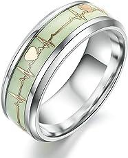 Moneekar Jewels Luminous ECG Heartbeat Titanium Promise Glow in Dark Ring for Men and Women, 8mm