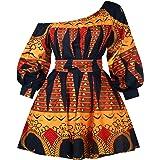 Vestido de cóctel para mujer, africano, retro, rockabilly, sexy, con hombros descubiertos, estampado de flores