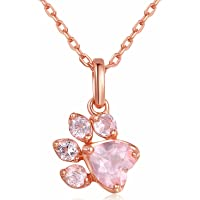 Ztuo Rose Gold Tone Pink Rhinestone Paw Print Pendant Necklace Earrings Jewelry Set for Dog Lovers