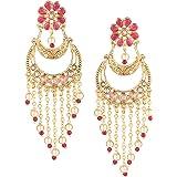 Archi Collection Pink Non-Precious Metal Fancy Party Wear Dangle Chandbali Earring Set for Women